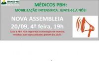 Sem retorno da PBH, assembleia decide por paralisação dos médicos especialistas dia 26 de setembro