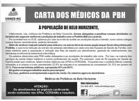 Médicos da PBH contam com o apoio da população no movimento reivindicatório