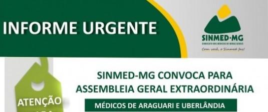 Sinmed-MG Convoca médicos de Araguari e Uberlândia para AGE