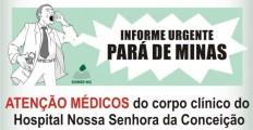 Assembleia dos médicos de Pará de Minas-  corpo clínico do Hospital Nossa Senhora da Conceição