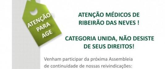 Sinmed-MG convoca médicos de Ribeirão das Neves para continuar a luta pelo pagamento em dia