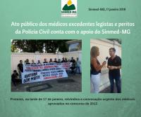 Ato público dos médicos  legistas e peritos criminais da Polícia Civil conta com o apoio do Sinmed-MG