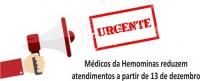 Médicos da Fundação Hemominas reduzem atendimento em 50%, nesta 4ª feira, 13 de dezembro