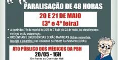 PBH:médicos deliberam por paralisação dias 20 E 21/maio