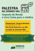 Palestra no Sinmed-MG: Imposto de renda e livro caixa para médico. Faça já sua inscrição e fique bem informado