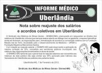 Nota  do Sinmed-MG sobre reajuste dos salários e acordos coletivos em Uberlândia