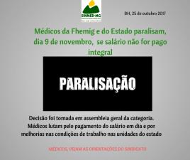 Médicos da Fhemig e do Estado paralisam, dia 9 de novembro,  se salário não for pago integral