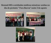 """Em Minas Gerais, dia de protesto """" Fora Barros"""" une  Sinmed-MG e entidades médicas"""