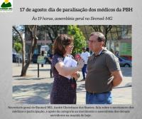 Paralisação de 24 horas dos médicos da PBH: 17 de agosto
